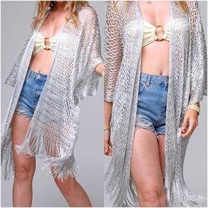 Boho Silver Shimmer Kimono Coverup O/S